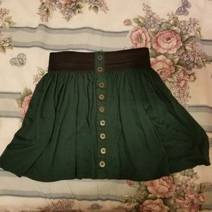 Forever 21 green vintage style buttoned mini skirt